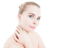 Natural cosmetics concept with woman touching her neck Stock Photos
