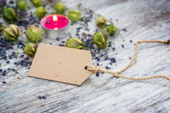 Natural cosmetics, Copy Space in front of lavender Stock Image