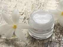 Natural cosmetics, fresh as spring flowers stock images
