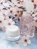 Natural cosmetics, fresh as spring flowers. With cosmetics on the table with decoration, beauty concept royalty free stock image