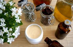Natural cosmetics. Homemade hydration cream made from immortelle and sage oils and leaves of sage and hibiscus roses without. Hydration cream. Natural, organic stock photos