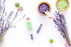 Natural cosmetics with lavender and herbs for homemade spa on white background top view Stock Photo