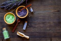 Natural cosmetics with lavender and herbs for homemade spa on wooden background top view mock up Stock Photography