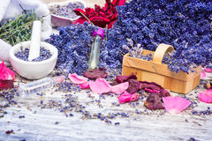 Natural cosmetics of lavender and rose royalty free stock photography