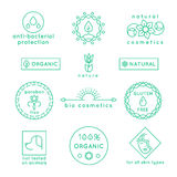 Natural cosmetics line vector icons and badges set vector illustration