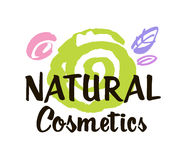 Natural cosmetics logo design  template. Abstract decorative spiral and stylized leaves. Brush design. Vector Stock Photo