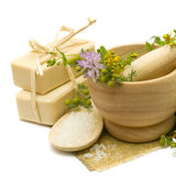 Natural cosmetics and medicine herbs. Natural cosmetics - soap, bath salt and medicine herbs Stock Photos