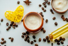 Natural cosmetics with oil. And coffee extract Stock Photo
