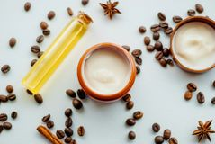 Natural cosmetics with oil. And coffee extract Royalty Free Stock Images