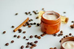 Natural cosmetics with oil. And coffee extract Royalty Free Stock Photography