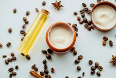 Natural cosmetics with oil. And coffee extract Stock Images