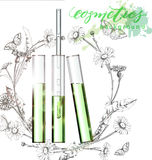 Natural cosmetics. Perfume. Flower extract in vitro.Cosmetic ads template, glass droplet bottle with essence oil . 3D illustration. Q10 and other ingredients on Stock Image
