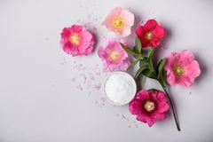 Natural Cosmetics product, flavored sea salt and mallow flowers. On gray background Stock Photo