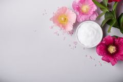 Natural Cosmetics product, flavored sea salt and mallow flowers. On gray background. Toned Royalty Free Stock Photos
