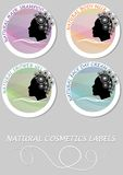 Natural cosmetics product label set. Etiquette for hair shampoo, body milk, shower gel, face day cream. Royalty Free Stock Photography
