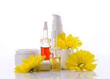 Natural cosmetics products and flower Royalty Free Stock Photos