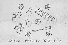 Natural cosmetics products, organic make-up set with flowers Stock Photography