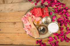 Natural cosmetics on a rustic table still life Royalty Free Stock Photos