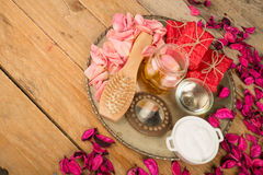 Natural cosmetics on a rustic talbe Royalty Free Stock Images