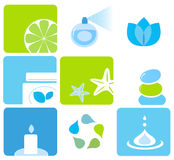 Natural cosmetics and spa icons and elements Stock Images