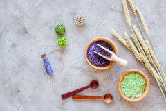 Natural cosmetics with wheat and herbs for homemade spa on stone background top view Royalty Free Stock Photography