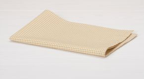 Natural Cotton Napkin On White Painted Wood Stock Images