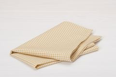 Natural Cotton Napkin On White Painted Wood Stock Photography