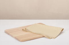 Natural Cotton Napkin And Wooden Board On White Stock Photography