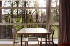 Natural countryhouse interior. Interior inside modern house located outside the city Royalty Free Stock Photo