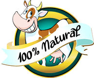 Natural cow or milk label Royalty Free Stock Photography