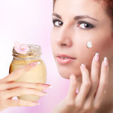 Natural Cream for Care Skin Royalty Free Stock Image