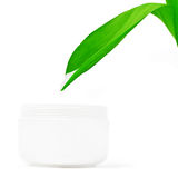 Natural cream, concept. Natural  body/ skin cream, concept. White background Royalty Free Stock Photography