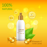 Natural Cream with Vitamin C in Glossy Tube Vector Royalty Free Stock Photo