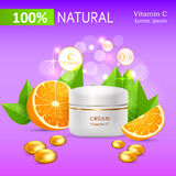 Natural Cream with Vitamin C in Glossy Tube Vector Stock Photo
