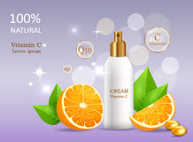 Natural Cream with Vitamin C in Glossy Tube Vector Royalty Free Stock Image