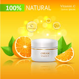 100 Natural Cream with Vitamin C Illustration Stock Photography