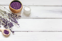 Natural creams with lavender flowers on wooden table royalty free stock photo