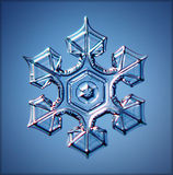 Natural crystal snowflake macro blue Royalty Free Stock Image