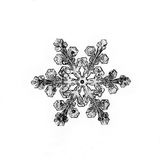 Natural crystal snowflake macro piece of ice. White natural crystal snowflake macro Royalty Free Stock Photography