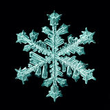 Natural crystal snowflake macro white background Stock Photo