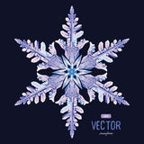 Natural crystal snowflake. Vector illustration Stock Image