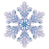 Natural crystal snowflake. On white, vector illustration Royalty Free Stock Photos