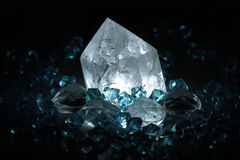 Natural crystals. Photo of crystal with blue and white light Stock Image