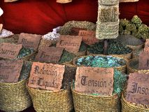 Natural cures and home remedies for everything and for everybody. Street market stall with natural cures and home remedies for various types of health problems royalty free stock images