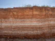 Natural cut of soil. With different layaers, grass and blue sky stock images