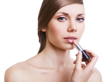 Natural cute woman with lipstick Stock Photos