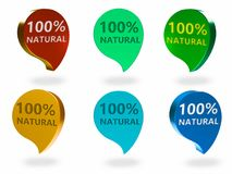 The natural sign. The 100% natural 3d rendered sign , different Colors and angles Royalty Free Stock Photography