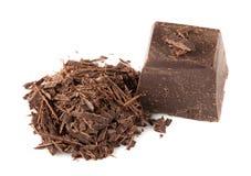 Natural dark Chocolate over White Stock Photo