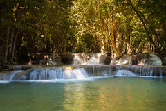 Natural deep forest waterfall in national park of Thailand, natural landscape background Royalty Free Stock Photography