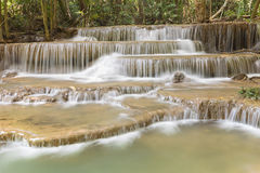 Natural deep topical forest waterfall. Natural landscape background Royalty Free Stock Image